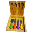 Colourful 4 pcs knife bamboo cheese board set