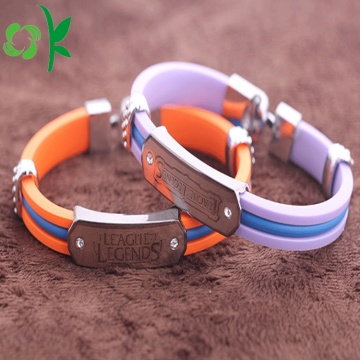 Unique Top-grade Layer Silicone Wristbands Alloy Steel