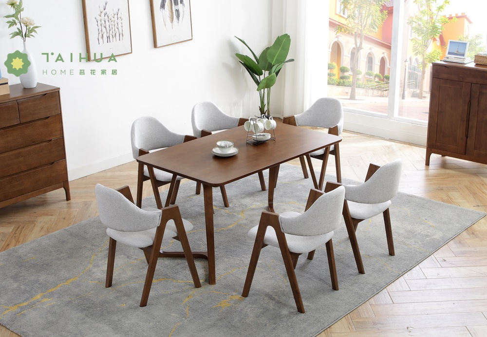 Dark Rubber Solid Wood Rectangular Table for 6