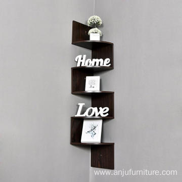 5 Tier Wall Mount Corner Shelves Natural Finish