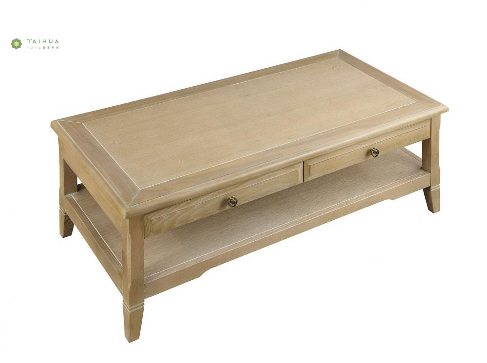 Yellow Wood Coffee Table Two Drawers