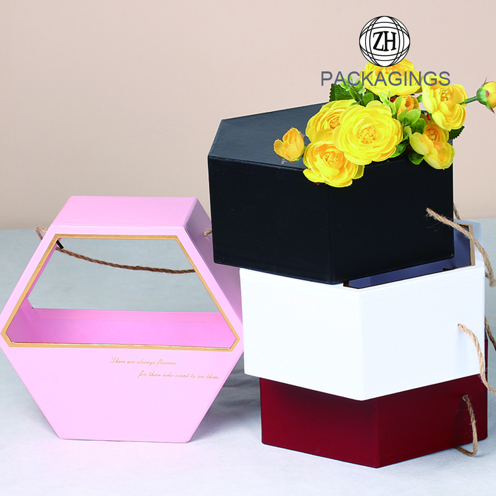 Hexagon gift flower box with handle retail