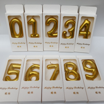 Gold number birthday candle