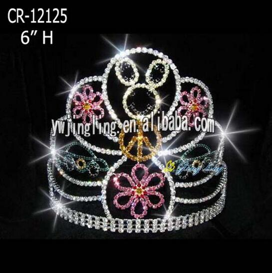 Wholesale Rabbit Flower Big Rhinestone Easter Crowns