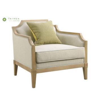 Light Solid Wood Frame Sofa With Fabric Cushion