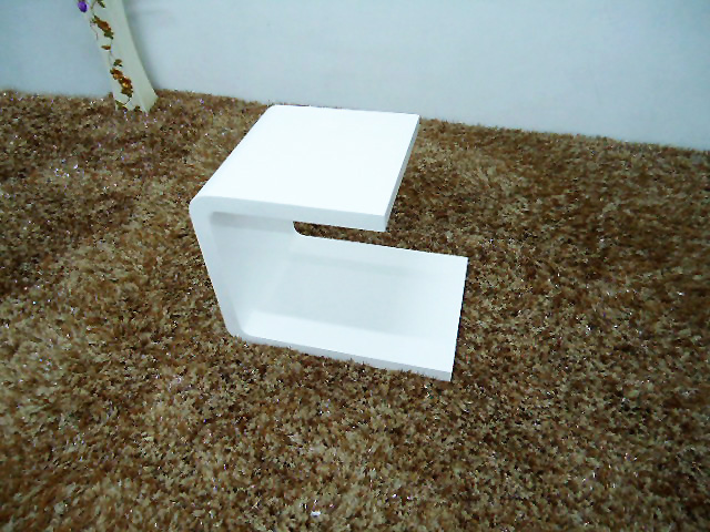 white wooden side table
