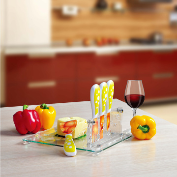 cheese knife set with acrylic holder