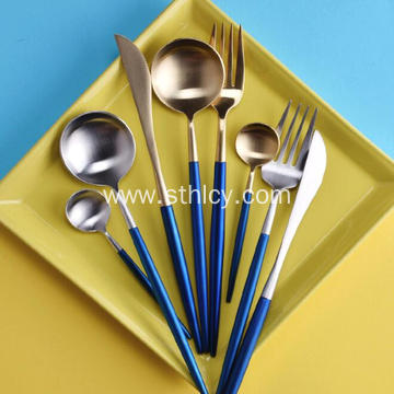 Stainless Steel Flatware Set with Colored Handles