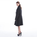 Black striped cashmere overcoat with belt