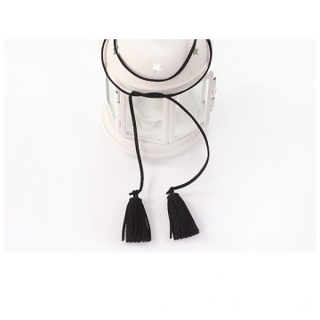 Long Cassel Necklace Imitation Suede Fabric Fringes Necklace