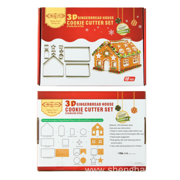 10pcs 3D stainless steel Christmas cookie cutter set