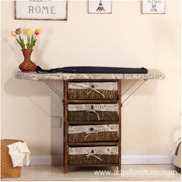 Ironing Board Wooden Ironing Cabinet With Wicker Drawer