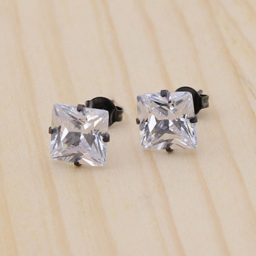 Fashion square cubic zirconia stud earrings