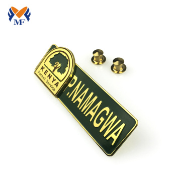 Metal logo custom name badge pin for school