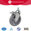Chrome 6 Inch 110Kg Threaded Brake TPE Caster