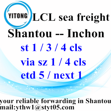 LCL Ocean Freight Shantou to Inchon