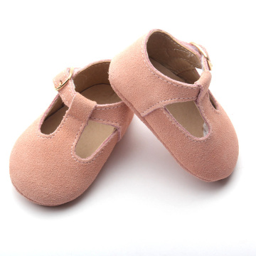 Pink Soft Leather Baby Casual T Bar Shoes