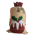 Large christmas burlap sack with scottish style