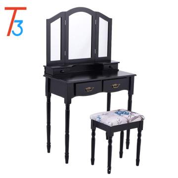 Tri Folding Black Vanity Mirrored Makeup Table Stool Set Drawers