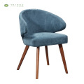 Blue Fabric Cushion Dining Chair Solid Wood