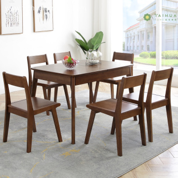 Extendable Dark Rubber Wood Rectangular Table for 6