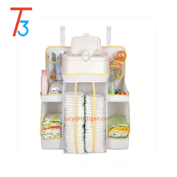 8 pockets Baby infant Nursery Diaper Organizer Storage Stacker Crib Hanger White