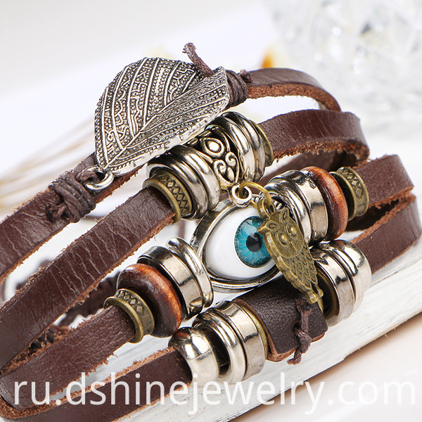 Custom Design Leather Charm Bracelets