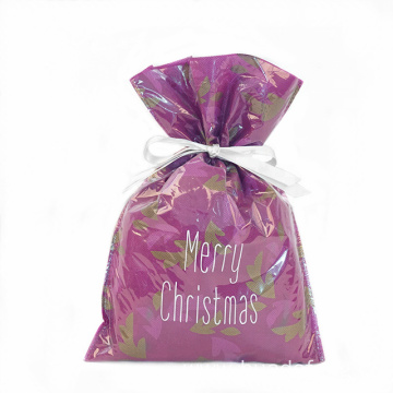 Pink Christmas Plastic Gift Wrapping Bag White Ribbon