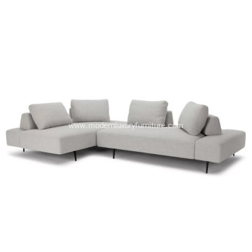 Divan Wisp Gray Fabric Sectional Sofa