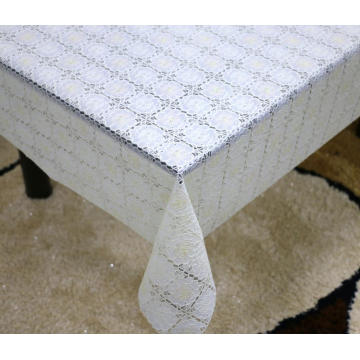 Printed pvc lace plaid tablecloth by roll