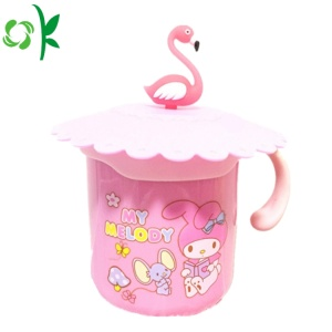 Silicone Glass Drinkg Cup Mug Lid Cartoon Covers