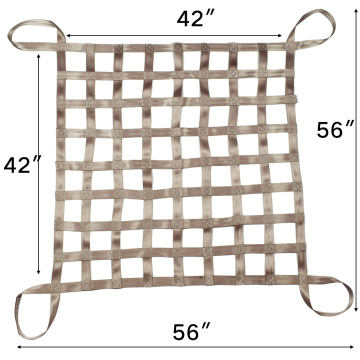 "56"" x 56"" Cheap Price Gray Color Belt Cargo Net Webbing For Sale Heavy Duty With 4x4 Mesh Capacity 1100LBS For Truck And Cars"