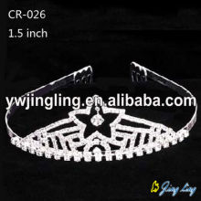 "1.5"" Wholesale star rhinestone pageant crowns and tiaras"