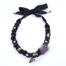 Ribbon Poms Jewellery With Skull Choker Collar For Womens