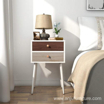 White wooden living side table nightstand 2 drawers