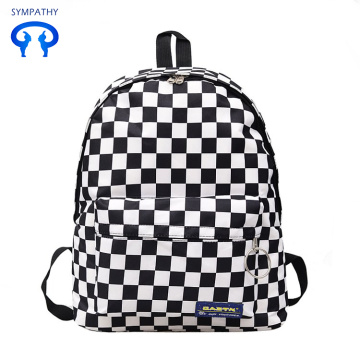 Black and white checked schoolbag Korean travel bag