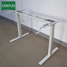 Adjustable Manual Crank Standing Desk With Metal Leg