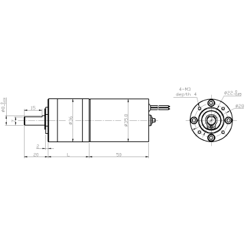 DM-36RPBL 3650 low rpm small electric brushless motor with gear reduction