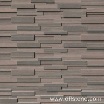 3D Brown Natural Stacked Stone Panel