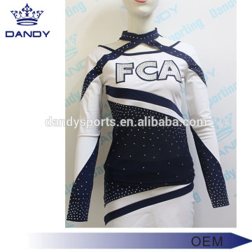 20 Years Factory for Cheerleader Uniform blue and white cheerleading uniforms for kids export to Vanuatu Exporter