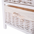 White Wood Night Stand Storage Drawer 3 layers 2 Baskets modern Bedside table