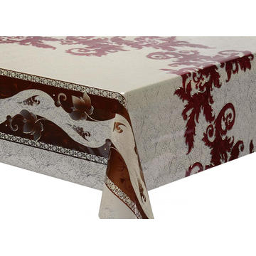 Transfer Printing  round Tablecloth with Silver/Gold
