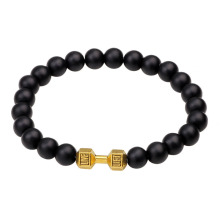 Factory making for Gemstone Bead Bracelets Black agate stone fit life dumbbell bracelet export to India Wholesale