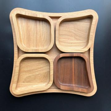 Separated wooden food tray