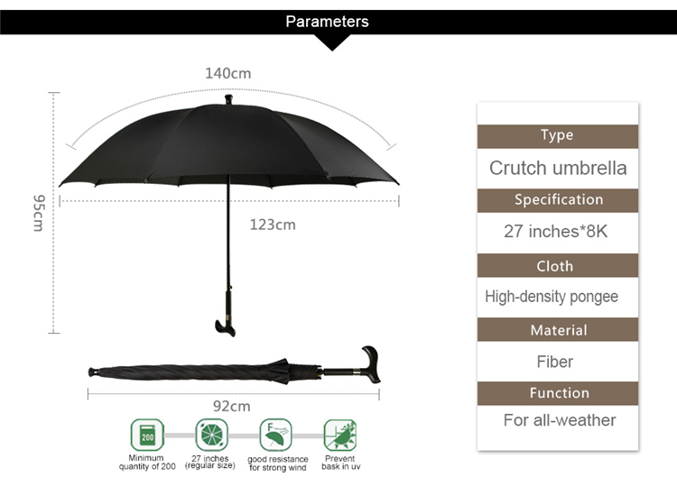 Old man walking stick umbrella straight black waterproof