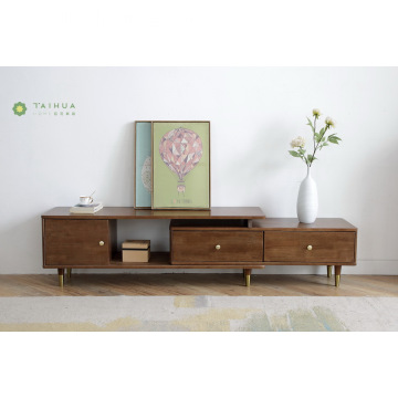 Dark Brown Solid Rubber Wood Flexiable TV Stand
