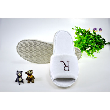 Open Cotton Velour Ripple Sole Embroidery Slipper