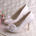 Satin Rose Flower Shoes for Wedding Bride