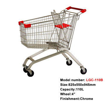 wholesale mall metal shopping carts trolley with wheels