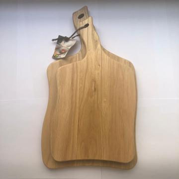 Oak wood serving board with handle